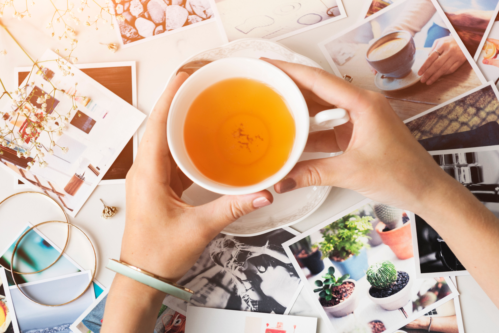 Pictures Scattered Hands Tea Concept