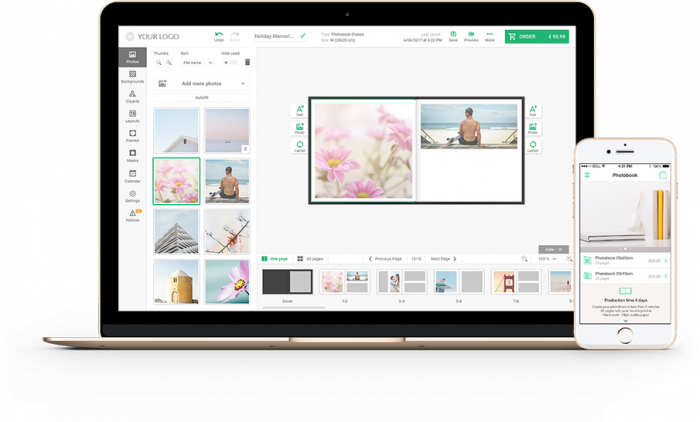 The example of photo album software on a desktop and a mobile screen.